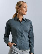 Ladies` Long Sleeve Polycotton Fitted Poplin Shirt